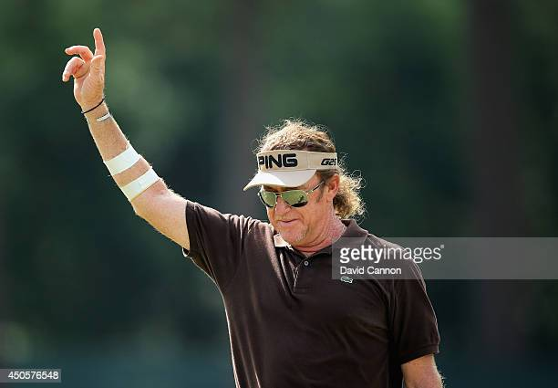Miguel Angel Jimenez of Spain celebrates making eagle on the third hole during the second round of the 114th US Open at Pinehurst Resort Country Club...