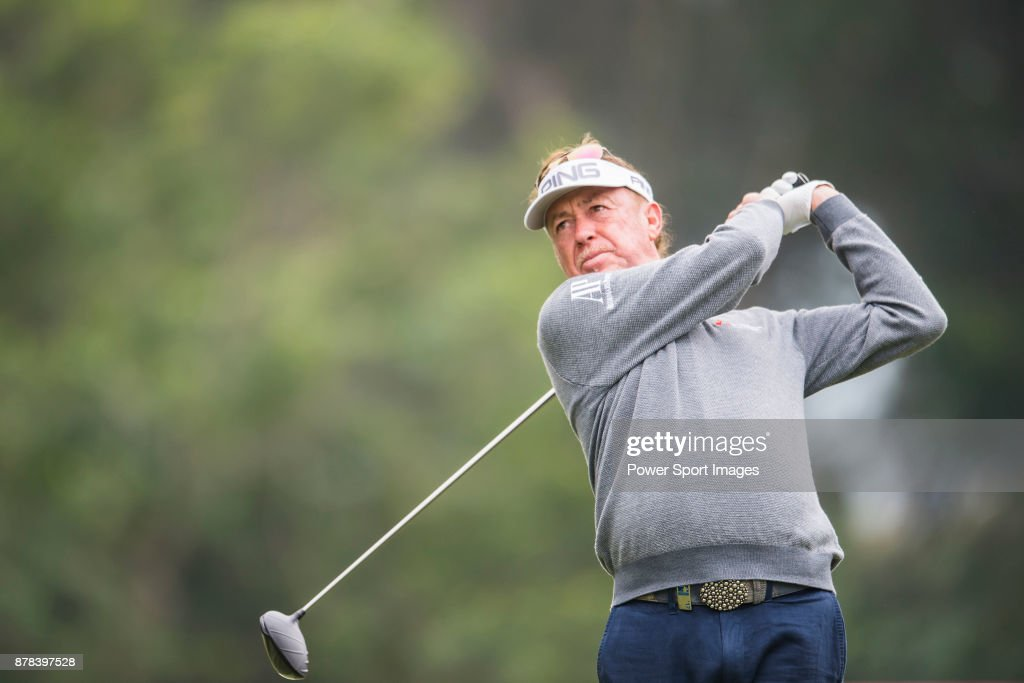Miguel Angel Jimenez of Spain hits a shot during round two of the UBS Hong Kong Open at The Hong Kong Golf Club on November 24, 2017 in Hong Kong, Hong Kong.