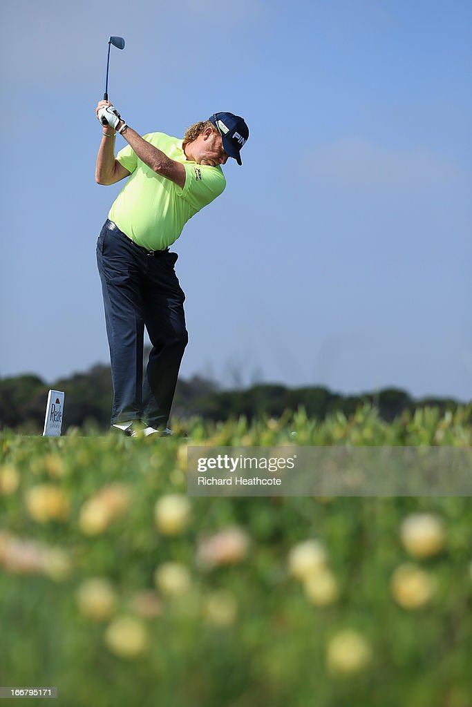 Miguel Angel Jimenez of Spain hits a tee shot during the pro-am for the Open de Espana at Parador de El Saler on April 17, 2013 in Valencia, Spain.
