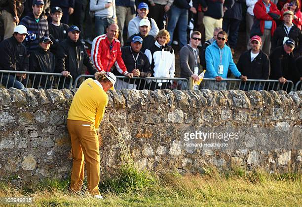 Miguel Angel Jimenez of Spain hits his fourth shot on the 17th hole during the third round of the 139th Open Championship on the Old Course, St...