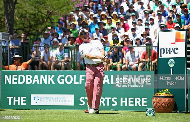 Miguel Angel Jimenez of Spain hits the inagural tee shot of the 2015 European Tour Race to Dubai during the first round of the Nedbank Golf Challenge...