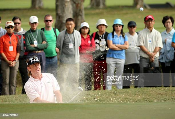 Miguel Angel Jimenez of Spain in action during the final round of the 2013 Hong Kong open at The Hong Kong Golf Club on December 8, 2013 in Hong...