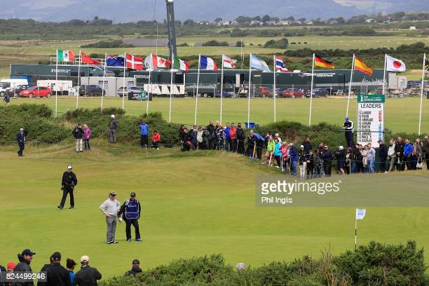 Miguel Angel Jimenez of Spain in action during the final round of the Senior Open Championship at Royal Porthcawl Golf Club on July 30, 2017 in...