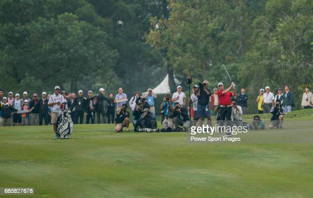Miguel Angel Jimenez of Spain in action during the UBS Hong Kong Golf Open on 18 November 2012 at the Fanling Golf Course in Hong Kong China