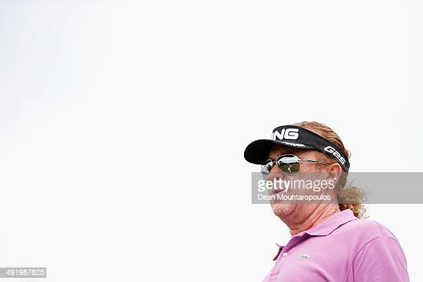 Miguel Angel Jimenez of Spain looks on after he hits his tee shot on the 14th hole during the final round of the Open de Espana held at PGA Catalunya...