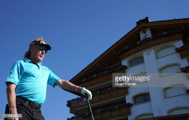 Miguel Angel Jimenez of Spain looks on during the pro am prior to the start of the Omega European Masters at CranssurSierre Golf Club on September 5...