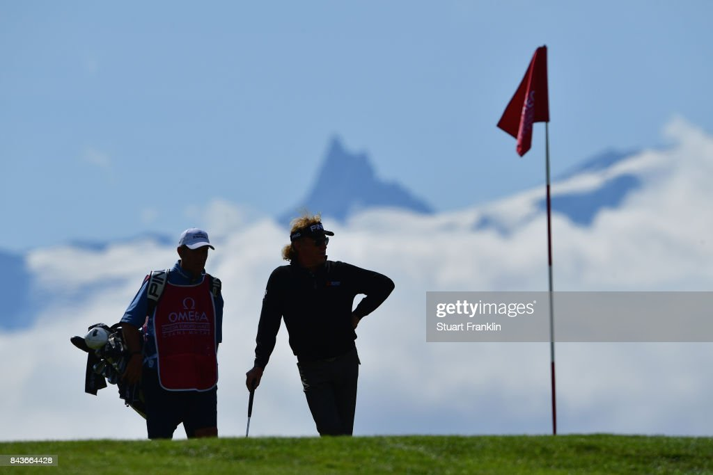 Miguel Angel Jimenez of Spain on the 7th during day one of the 2017 Omega European Masters at Crans-sur-Sierre Golf Club on September 7, 2017 in Crans-Montana, Switzerland.