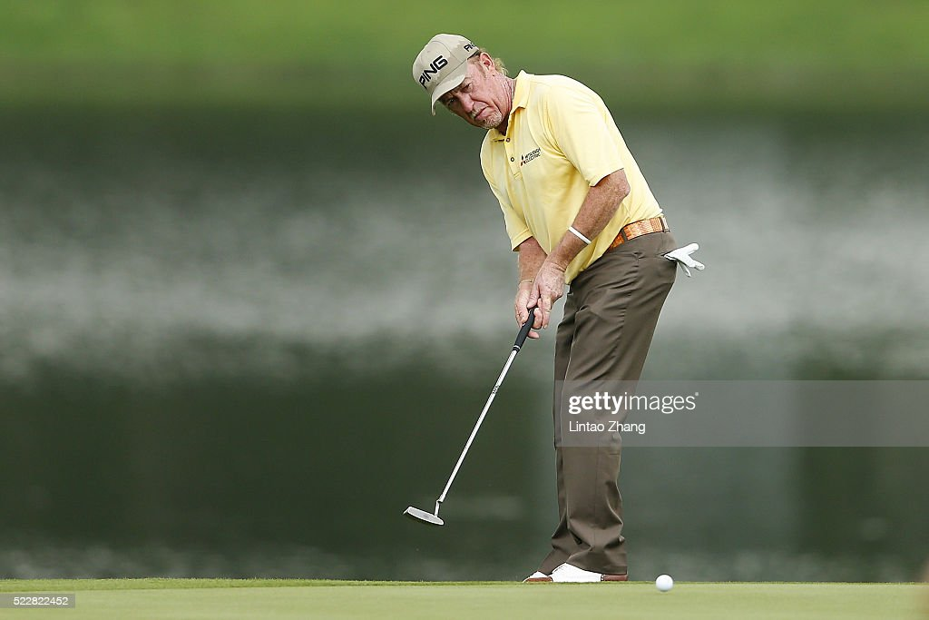 Miguel Angel Jimenez of Spain plays a shot during the first round of the Shenzhen International at Genzon Golf Club on April 21, 2016 in Shenzhen, China. Photo by Lintao Zhang/Getty Images)
