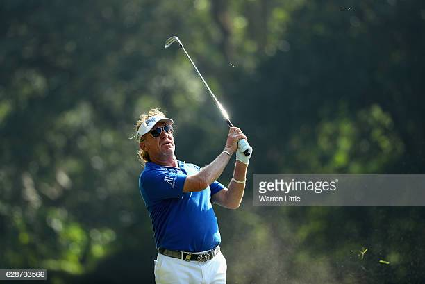 Miguel Angel Jimenez of Spain plays his second shot into the 11th hole during the second round of the USB Hong Kong Open at The Hong Kong Golf Club...