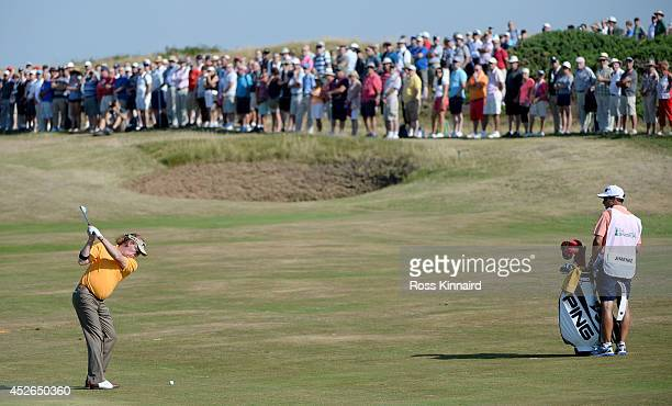 Miguel Angel Jimenez of Spain plays his second shot on the par four 2nd hole during the second round of the Senior Open Championship at Royal...