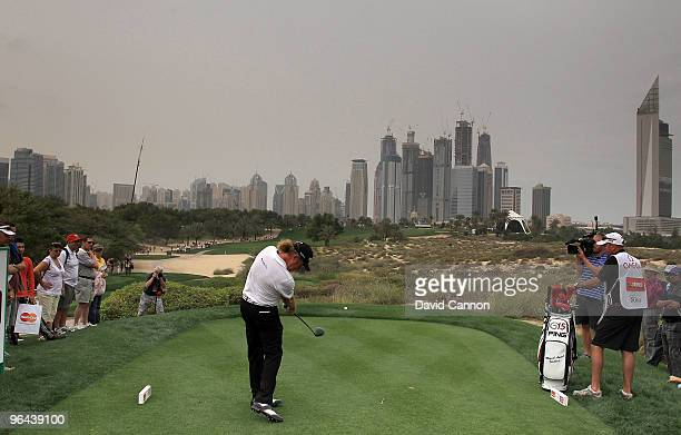 Miguel Angel Jimenez of Spain plays his tee shot at the 8th hole during the second round of the 2010 Omega Dubai Desert Classic on the Majilis Course...