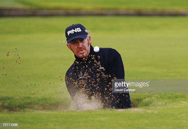 Miguel Angel Jimenez of Spain plays out of a bunker on the 18th hole during the Third Round of The Alfred Dunhill Links Championship at Carnoustie...
