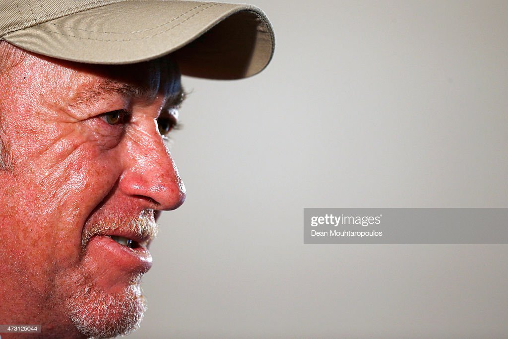 Miguel Angel Jimenez of Spain speaks to the media in his press conference after playing a round in the Open de Espana ProAm held at Real Club de Golf el Prat on May 13, 2015 in Barcelona, Spain.