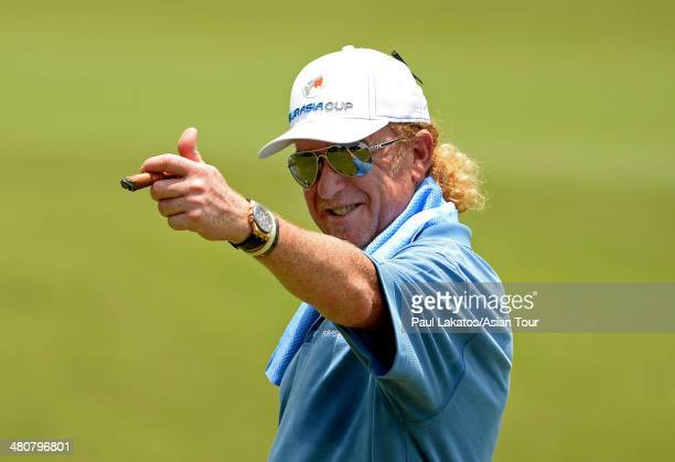 Miguel Angel Jimenez of Spain Team Europe captain pictured during day one of the EurAsia Cup at Glenmarie GCC on March 27 2014 in Kuala Lumpur...