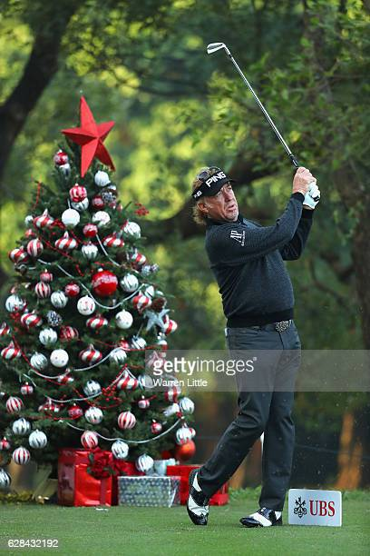 Miguel Angel Jimenez of Spain tees off on the 12th hole during the first round of the UBS Hong Kong Open at The Hong Kong Golf Club on December 8,...