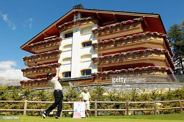 Miguel Angel Jimenez of Spain tees off on the seventh hole during the third round of The Omega European Masters at Crans-Sur-Sierre Golf Club on...