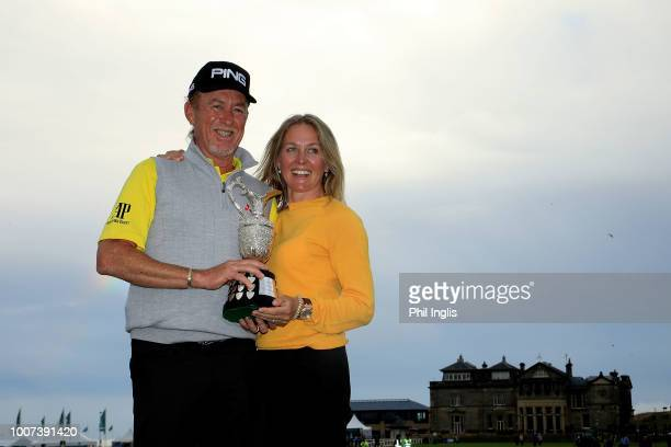 Miguel Angel Jimenez of Spain with his wife Susannah after the final round of the Senior Open presented by Rolex played at The Old Course on July 29...