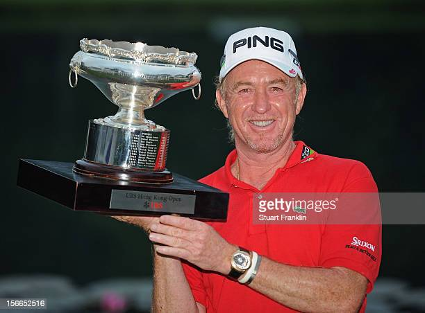 Miguel Angel Jimenez of Spain with the winners trophy after the final round of the UBS Hong Kong open at The Hong Kong Golf Club on November 18 2012...