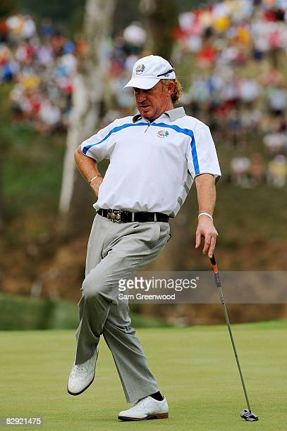 Miguel Angel Jimenez of the European watches a putt during the afternoon fourball matches on day one of the 2008 Ryder Cup at Valhalla Golf Club on...