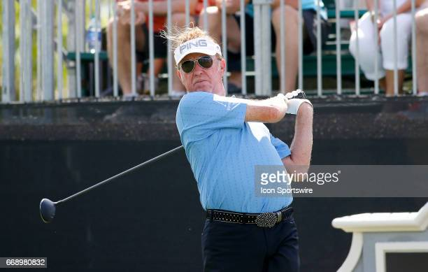 Miguel Angel Jimenez tees off hole during the second round of the Mitsubishi Electric Classic tournament at the TPC Sugarloaf Golf Club Saturday...