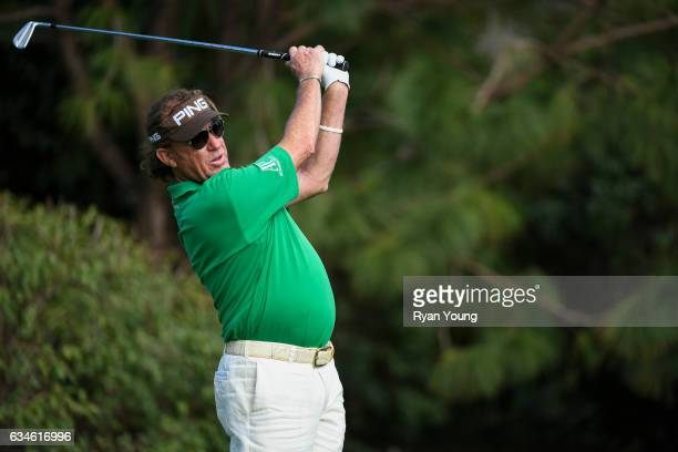 Miguel Angel Jimenez tees off on the 16th hole during the first round of the PGA TOUR Champions Allianz Championship at The Old Course at Broken...