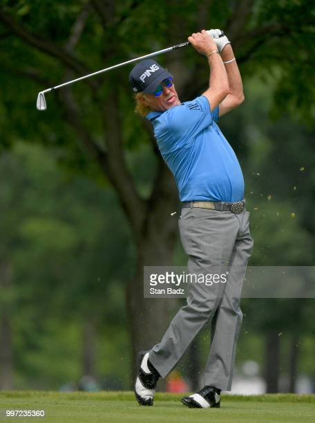 Miguel Angel Jiménez plays a tee shot on the eighth hole during the first round of the PGA TOUR Champions Constellation SENIOR PLAYERS Championship...