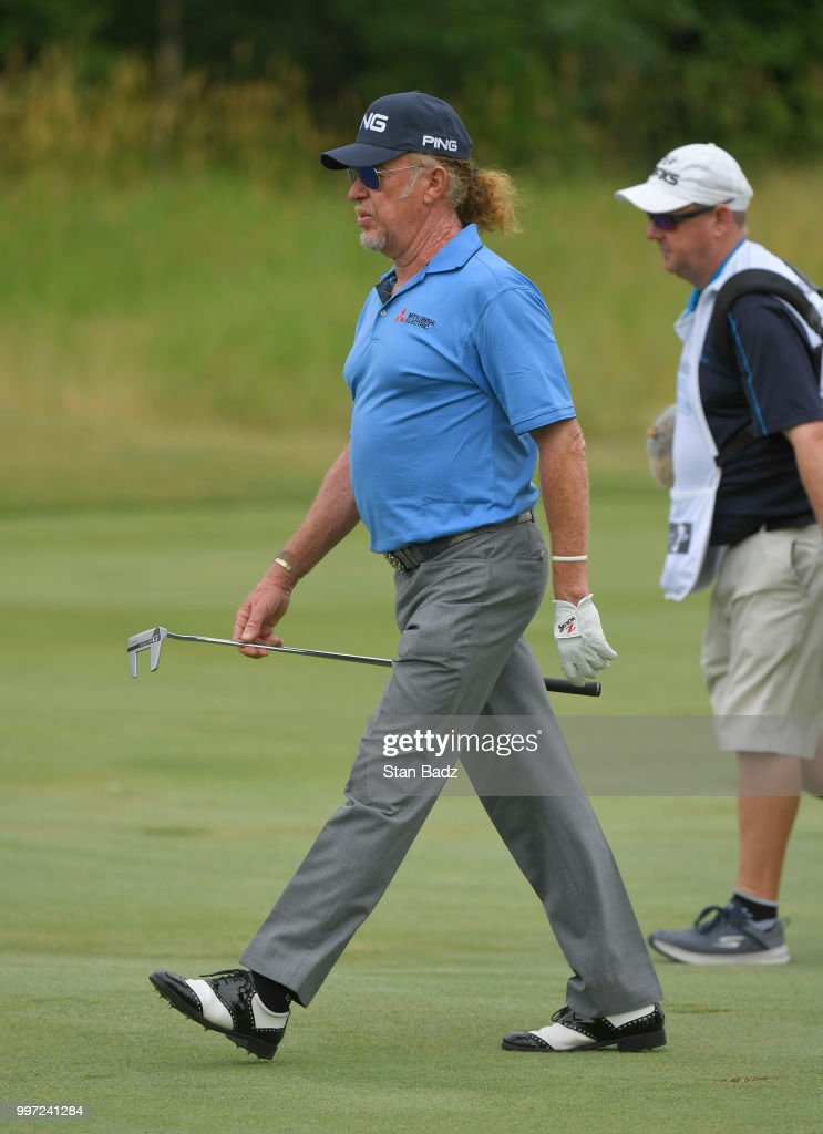 Miguel Angel Jiménez walks along the second hole during the first round of the PGA TOUR Champions Constellation SENIOR PLAYERS Championship at Exmoor Country Club on July 12, 2018 in Highland Park, Illinois.