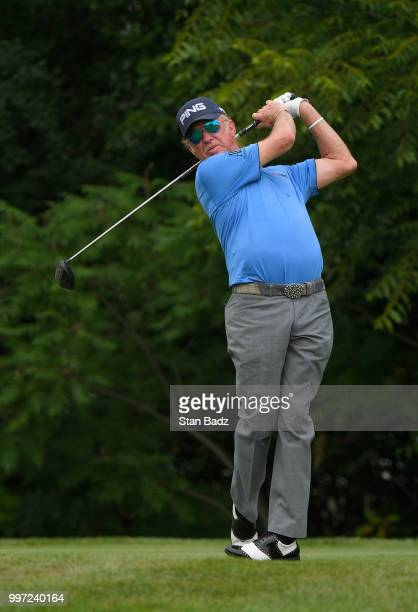 Miguel Angel Jiménez watches his tee shot the fourth hole during the first round of the PGA TOUR Champions Constellation SENIOR PLAYERS Championship...