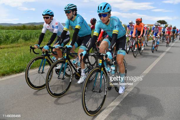 Miguel Angel Lopez Moreno of Colombia and Astana Pro Team White Best Young Rider Jersey / Ion Izaguirre of Spain and Astana Pro Team / Pello Bilbao...