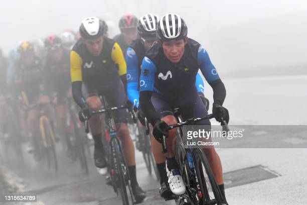Miguel Angel Lopez Moreno of Colombia & Marc Soler Gimenez of Spain and Movistar Team Yellow Leader Jersey lead The Peloton during the 74th Tour De...