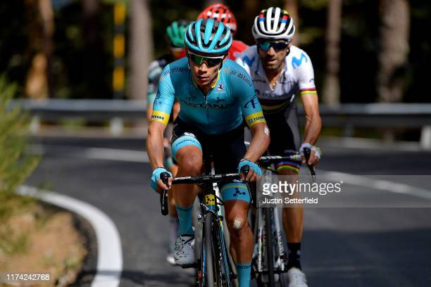 Miguel Angel Lopez of Colombia and Astana Pro Team / Alejandro Valverde Belmonte of Spain and Movistar Team World Champion Jersey / Primoz Roglic of...