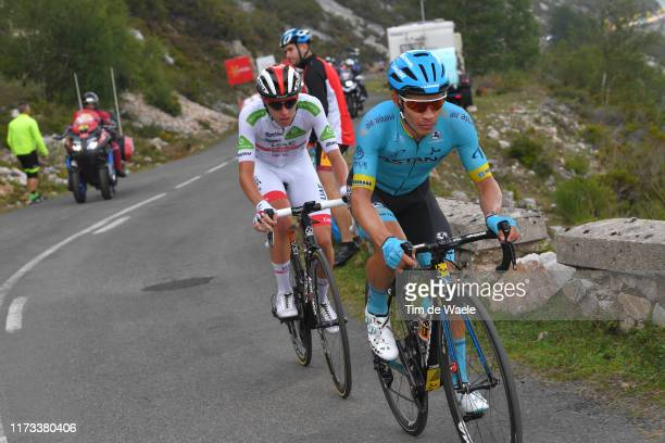 Miguel Angel Lopez of Colombia and Astana Pro Team / Tadej Pogacar of Slovenia and UAE Team Emirates White Best Young Rider Jersey / during the 74th...