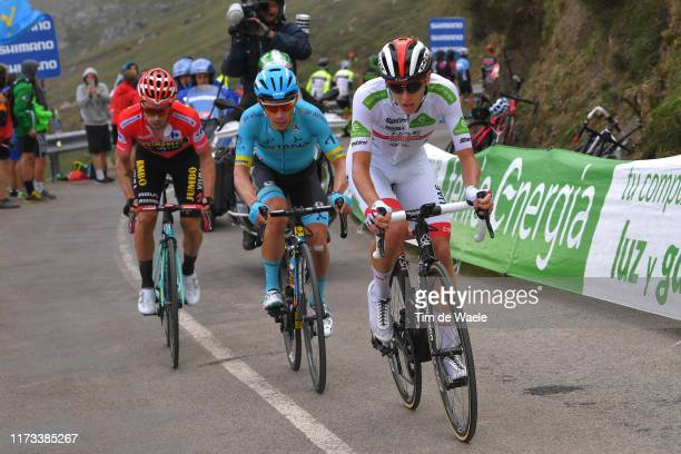 Miguel Angel Lopez of Colombia and Astana Pro Team / Tadej Pogacar of Slovenia and UAE Team Emirates White Best Young Rider Jersey / Primoz Roglic of...