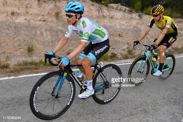 Miguel Angel Lopez of Colombia and Astana Pro Team White Best Young Jersey / Lennard Hofstede of The Netherlands and Team JumboVisma / during the...