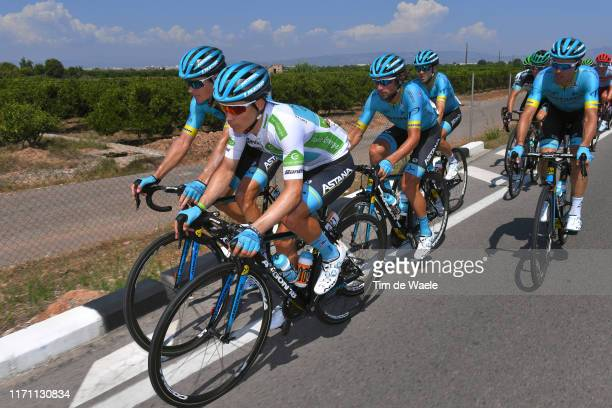 Miguel Angel Lopez of Colombia and Astana Pro Team White Best Young Rider Jersey / Jakob Fuglsang of Denmark and Astana Pro Team / Manuele Boaro of...