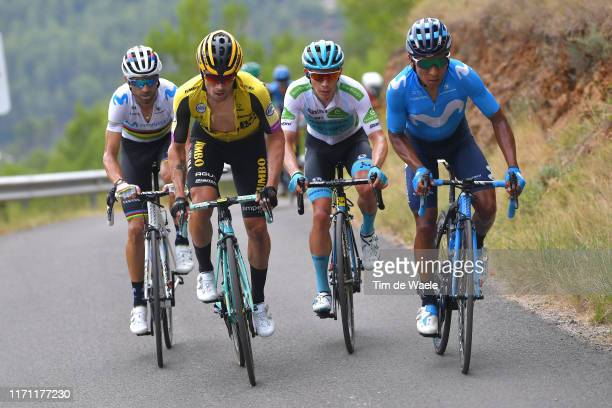 Miguel Angel Lopez of Colombia and Astana Pro Team White Best Young Rider Jersey / Nairo Quintana of Colombia and Movistar Team / Primoz Roglic of...
