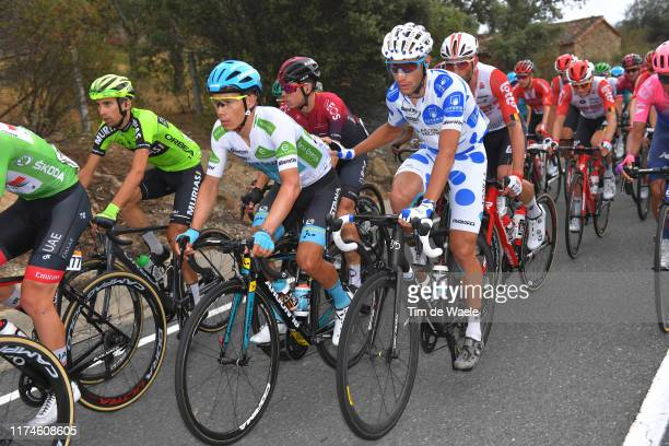 Miguel Angel Lopez of Colombia and Astana Pro Team White Best Young Rider Jersey / David de la Cruz of Spain and Team Ineos / Geoffrey Bouchard of...