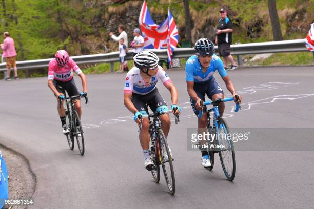 Miguel Angel Lopez of Colombia and Astana Pro Team White Best Young Rider Jersey / Richard Carapaz of Ecuador and Movistar Team / Christopher Froome...