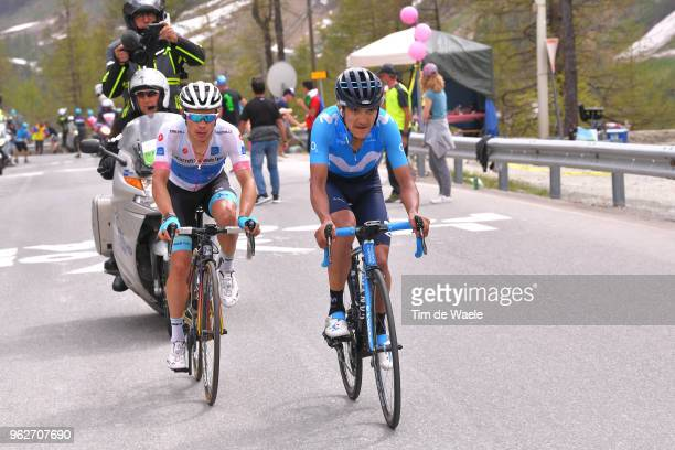 Miguel Angel Lopez of Colombia and Astana Pro Team White Best Young Rider Jersey / Richard Carapaz of Ecuador and Movistar Team / during the 101st...
