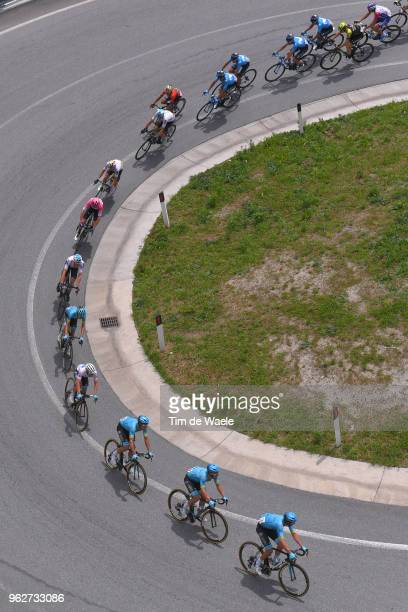Miguel Angel Lopez of Colombia and Astana Pro Team White Best Young Rider Jersey / Christopher Froome of Great Britain and Team Sky Pink Leader...
