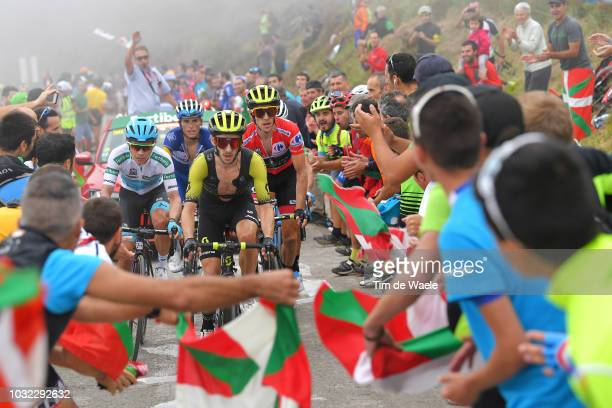 Miguel Angel Lopez of Colombia and Astana Pro Team White Combined Jersey / Simon Yates of Great Britain and Team Mitchelton-Scott Red Leader Jersey /...
