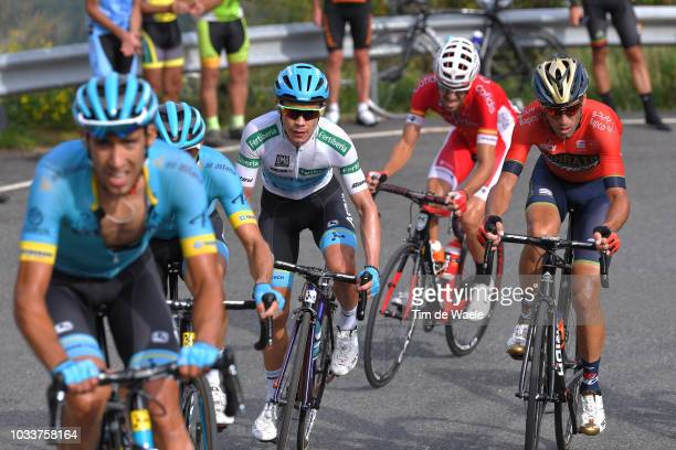 Miguel Angel Lopez of Colombia and Astana Pro Team White Combined Jersey / Vincenzo Nibali of Italy and Bahrain Merida Pro Cycling Team / during the...
