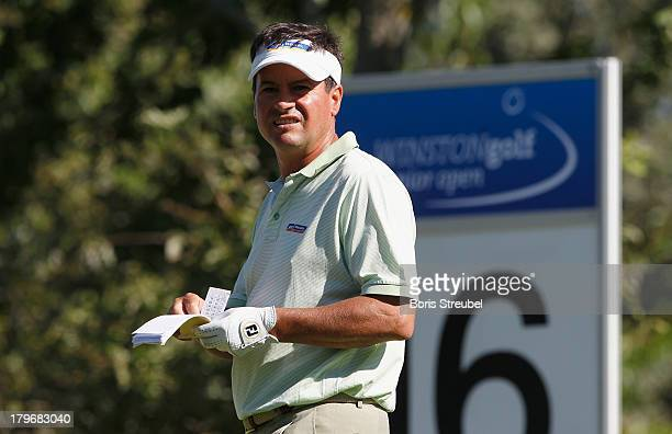 Miguel Angel Martin of Spain looks on during the first round on day one of the WINSTONgolf Senior Open played at WINSTONgolf on September 6 2013 in...