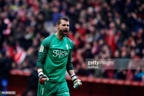 Miguel Angel Moya goalkeeper of Atletico de Madrid reacts after Sporting de gijon score a goal during the La Liga Santander match between Sporting de...