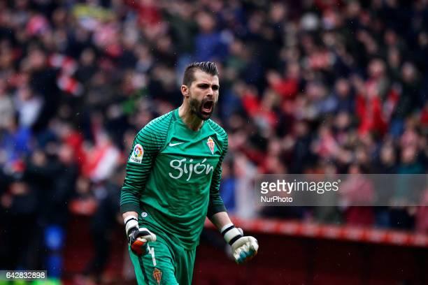 Miguel Angel Moya goalkeeper of Atletico de Madrid reacts during the La Liga Santander match between Sporting de Gijon and Atletico de Madrid at El...