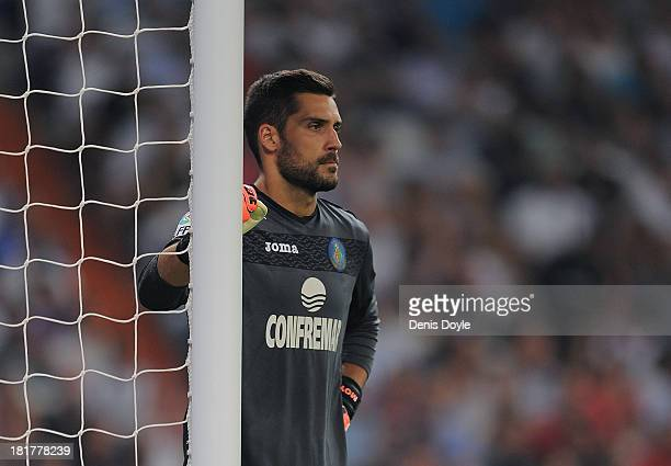 Miguel Angel Moya of Getafe reacts during the La Liga match between Real Madrid and Getafe at Bernabeu stadium on September 22 2013 in Madrid Spain