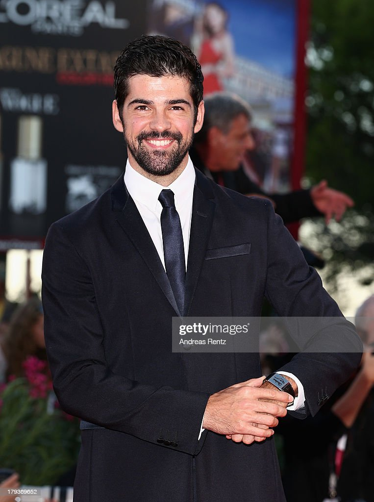 Miguel Angel Munoz wears a Jaeger-LeCoultre Master Memovox watch at the 'The Zero Theorem' Premiere during the 70th Venice Film Festival at the Palazzo del Cinema on September 2, 2013 in Venice, Italy.