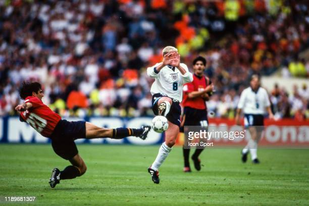 Miguel Angel Nadal of Spain and Paul Gascoigne of England during the Quarter Final of European Championship match between Spain and England at...