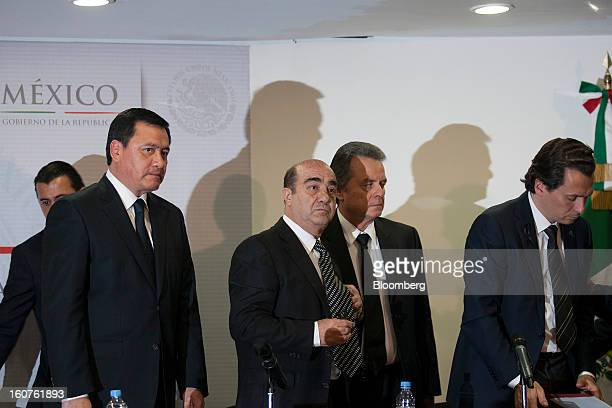 Miguel Angel Osorio Chong Mexico's minister of the interior from left Jesus Murillo Karam Mexico's attorney general Pedro Joaquin Coldwell energy...