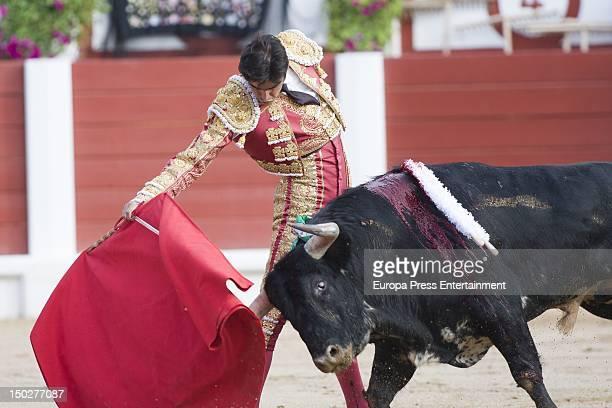 Miguel Angel Perera performance bullfighting at Gijon's bullring on August 13 2012 in Gijon Spain
